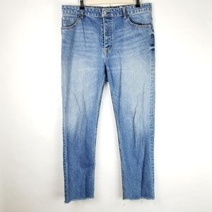 H&M Button Fly Jeans size 14 Straight Leg Frayed